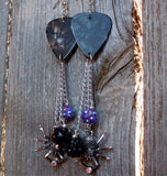 Gray Guitar Pick Earrings with Large Spiders and Rhinestone and Crystal Dangles