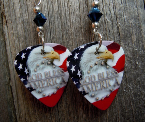 God Bless America Eagle American Flag Guitar Pick with Metallic Blue Swarovski Crystals