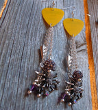 Yellow Guitar Pick Earrings with Spiders, Spikes, and More Dangles
