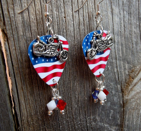 Motorcycle Charm on Waving American Flag Guitar Pick with Red White and Blue Swarovski Crystal Dangles