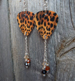 Leopard Print Guitar Pick Earrings with Swarovski Crystal Dangles