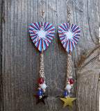 American Star Emblem Guitar Pick Earrings with Silver Star and Crystal Dangles