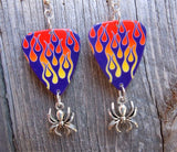 Spider Charm and Purple Hot Rod Flame Guitar Pick Earrings