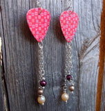 Red Squares Guitar Pick Earrings with Glass Pearl Dangles