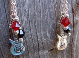 Transparent Guitar Head Guitar Pick Earrings with Guitar Charm and Swarovski Crystal Dangles