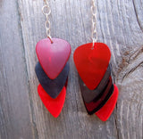 Cascading Red and Black Guitar Pick Earrings