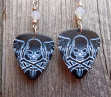 Wispy White Skull and Crossbones with Wings Guitar Pick Earrings with Opal Swarovski Crystals
