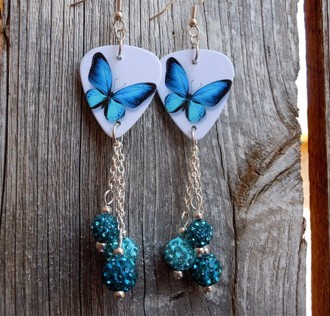 Aqua Blue Butterfly Guitar Pick Earrings with Aqua and Teal Pave Bead Dangles