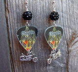 Motorcyle and Hot Rod Flame Guitar Pick Earrings with Black Rhinestone Dangles