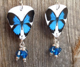 Blue Butterfly Guitar Pick Earrings with Capri Blue Swarovski Crystal Dangles