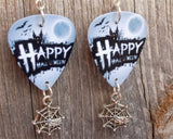 Happy Halloween House Guitar Pick Earrings with Spider Charm Dangles