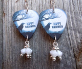 Happy Halloween Raven Guitar Pick Earrings with White Swarovski Crystal Dangles