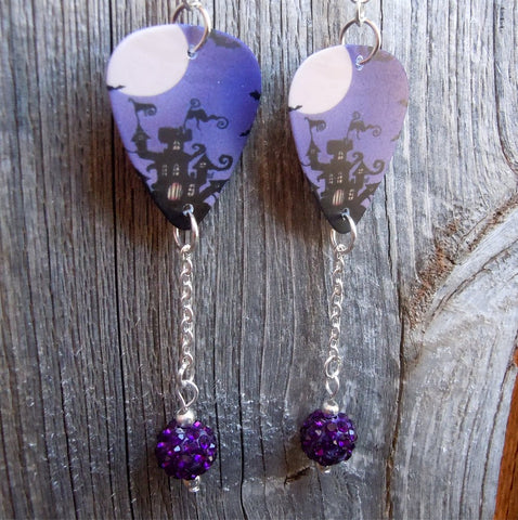 Spooky House Guitar Pick Earrings with Purple Pave Bead Dangles