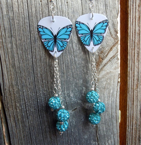 Aqua Blue Butterfly Guitar Pick Earrings with Aqua Pave Bead Dangles