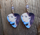 Drawn Girl Guitar Pick Earrings with Blue Pave Beads