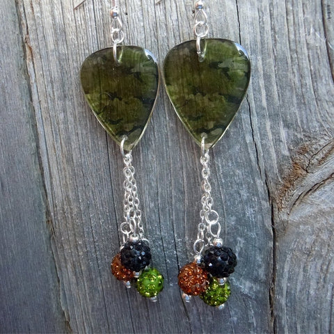 Transparent Camo Guitar Picks with Pave Bead Dangles
