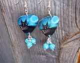 Haunted House Halloween Party Guitar Pick Earrings with Aqua Blue Pave Beads