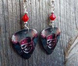 Pirates of the Caribbean Skull and Crossbones Guitar Pick Earrings with Red Swarovski Crystals