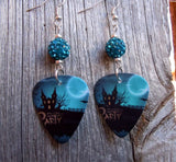 Haunted House Halloween Party Guitar Pick Earrings with Teal Pave Beads