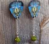 Love and Hate Skull Guitar Pick Earrings with Green Pave Bead Dangles