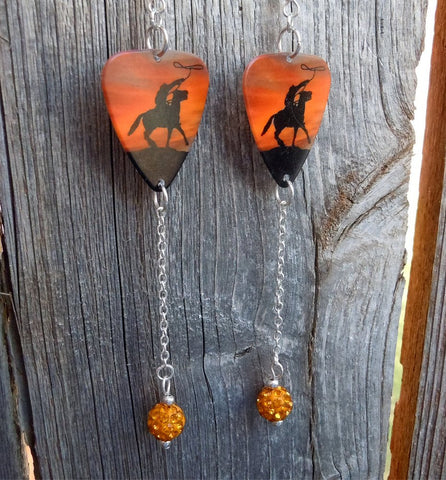 Cowboy on Horseback Guitar Pick Earrings with Orange Pave Bead Dangles