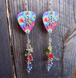 Tie Dye with Flower Charm Guitar Pick Earrings with Crystal Dangles