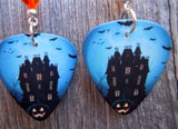 Haunted House Guitar Pick Earrings with Orange Swarovski Crystals