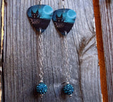 Haunted House Halloween Party Guitar Pick Earrings with Long Teal Pave Bead Dangles