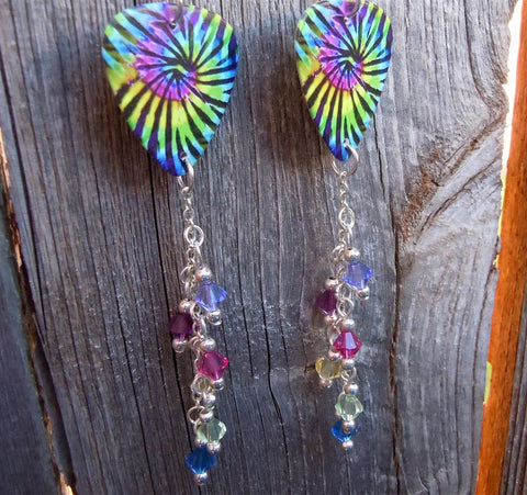 Tie Dye Guitar Pick with Purple, Amethyst, Green, Yellow, Fuchsia and Blue Swarovski Crystal Dangles