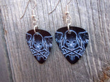 Wispy White Skull and Crossbones with Wings Guitar Pick Earrings