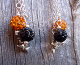 Witch on Broomstick Guitar Pick Earrings with Pave Bead and Charm Dangles