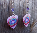 Rainbow Hearts Guitar Pick Earrings with Purple Swarovski Crystals