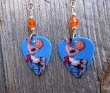 Pin Up Girl with Jack o' Lantern Guitar Pick Earrings with Orange Crystals
