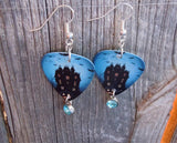 Haunted Mansion Guitar Pick Earrings with Aqua Crystal Charm Dangles