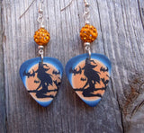 Witch on Broomstick Guitar Pick Earrings with Orange Pave Beads