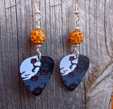 Jack o' Lantern Scene Guitar Pick Earrings with Orange Pave Beads