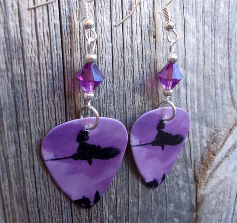 Purple and Black Witch on a Broomstick Guitar Pick Earrings with Purple Swarovski Crystals