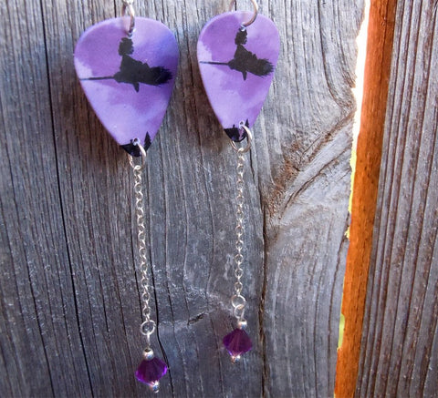 Witch on a Broomstick Guitar Pick Earrings with Purple Swarovski Crystals Dangles