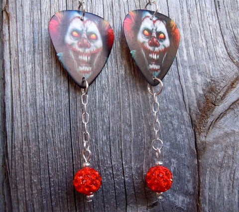 Evil Clown Guitar Pick Earrings with Orange Pave Dangles