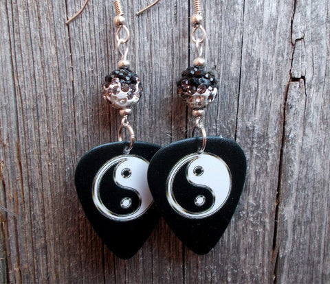 Yin Yang Guitar Pick Earrings with Black to White Ombre Pave Beads