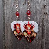 Evil Clown Guitar Pick Earrings with Red Crystals