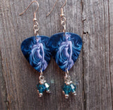 Sexy, Barely Covered Illustrated Woman Guitar Pick Earrings with Blue Swarovski Crystal Dangles