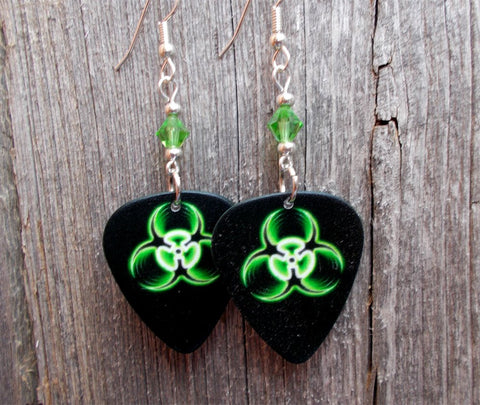 Green and Black Toxic Guitar Pick Earrings with Green Swarovski Crystals
