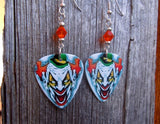 Evil Clown with a Green Hat Guitar Picks with Orange Swarovski Crystals