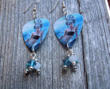 Mermaid with Black Top Guitar Pick Earrings with Swarovski Crystal Dangles