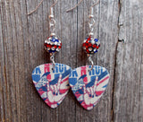British Rock n Roll Guitar Pick Earrings with British Flag Pave Beads