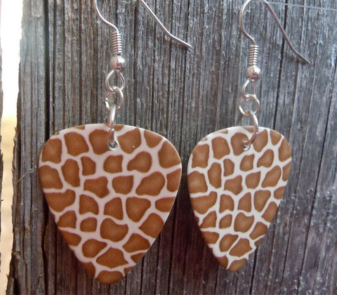 Giraffe Patterned Guitar Pick Earrings