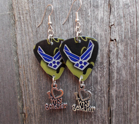 Air Force Camo I Love My Soldier Guitar Pick Earrings