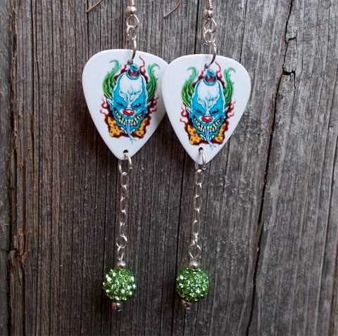 Evil Clown Guitar Pick Earrings with Green Pave Rhinestone Dangles