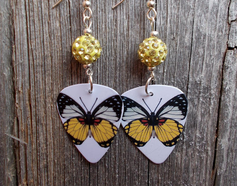 Yellow Butterfly Guitar Pick Earrings with Yellow Pave Beads